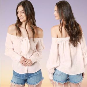 FREE PEOPLE Hello There Off Shoulder Bow Linen Top